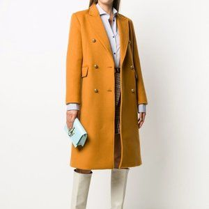 Sandro NWOT Maurin Double Breasted Wool Blend Tailored Midi Trench Coat Jacket
